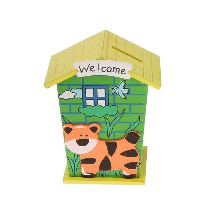 2 opinioni per Casella Di Denaro Di Legno Cartone Animato Casa Per Le Monete Contanti Bambini