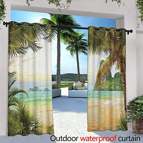 LOVEEO Ocean Outdoor Window Curtains Palm Coconut Trees and Ocean Waves Mountains on Paradise Island Beach Image Draft Blocking Draperies 72