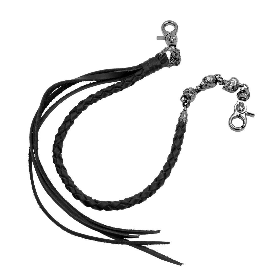 Uniqsum Braided Genuine leather wallet chain Swivel Trigger snap Biker Punk Key chain (Triple Skull B)