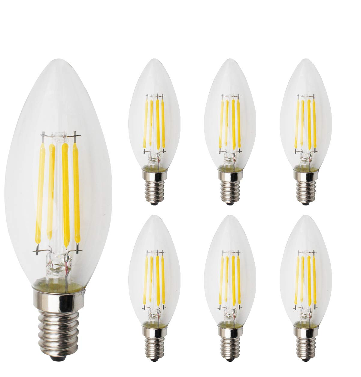RClorBulb 4W E14 Dimmable LED Filament Candle Bulb Warm White 2700K C35 LED Antique Chandelier Light 40W Incandescent Equivalent for Use in Chandeliers, Wall Sconces,Pendant Lighting - 6 Packs