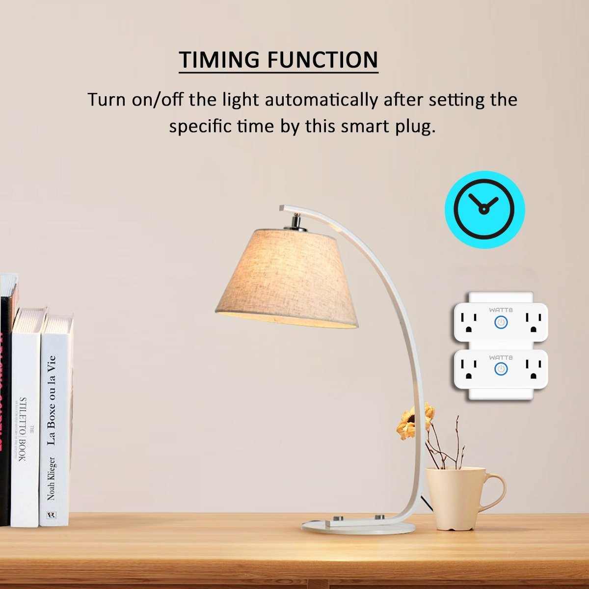 WATT8 Mini Wi-Fi Smart Plug, Dual Outlet, Works with Amazon Alexa and Google Assistant, No Hub Required, Control Your Appliances by Smart Phone and voice With Timing Function From Anywhere by WATT8 (Image #6)