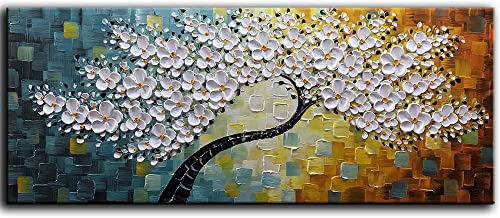 YaSheng Art -100 Hand-Painted Contemporary Art Oil Painting On Canvas Texture Palette Knife Tree Paintings Modern Home Interior Decor Abstract Art 3D Flowers Paintings Large Canvas Art 24x60inch