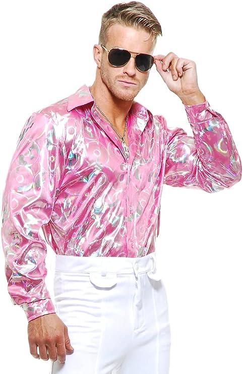 Charades - Camisa de Disco Holograma Rosa Brillante metálica para Hombre de 70 años de Edad, Talla Mediana 40 – 42