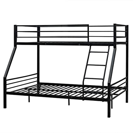 Bonnlo Bunk Bed Twin Over Full Sturdy Metal Bed Frame With Flat Ladder And Guardrail For Adults Children Teens Black
