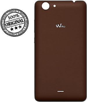 Lobishop Original Cache Batterie Marron Chocolat Coque Arrière avec Logo pour Wiko Pulp Fab 4G Screen Cleaner Offert