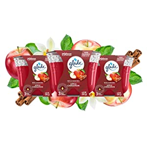 Glade 3-Wick Candle Apple Cinnamon, Fragrance Candle Infused with Essential Oils, 6.8 oz, 3ct