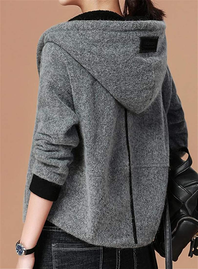 Sweatwater Womens Hoodies Stitching Long Sleeve Thick Casual Winter Thermal Button Front Wool Blended Coat Grey S