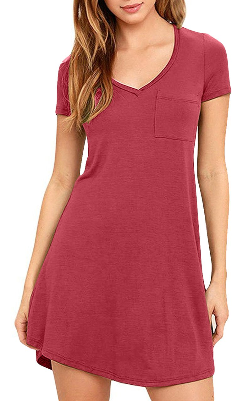 Eanklosco Womens Casual Short Sleeve Plain Pocket V Neck T Shirt Tunic Dress (Wine Red, M)