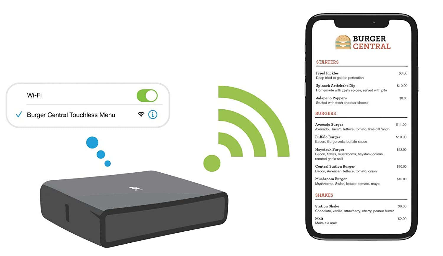 Wi-Fi Touchless Menu for a contactless Guest Experience. Display Your menu on Guests Mobile Phone. 1 Year with Plug-and-Play WiFi menu Box.