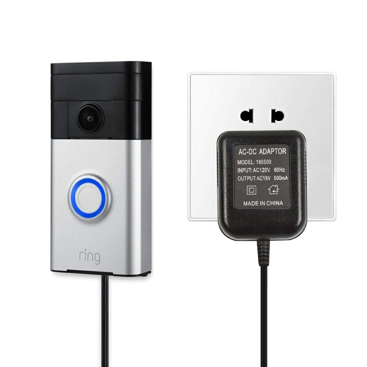 Ring Video Doorbell 2 and Ring Video Doorbell Pro with 16.4 Cable by LiBatter Power Supply Adapter for Ring Video Doorbell