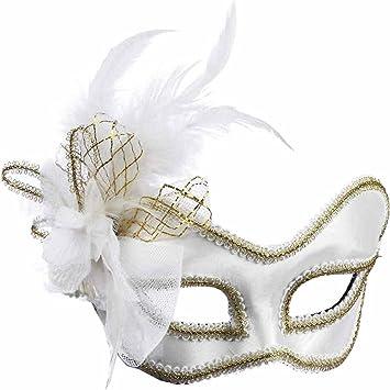 Amazon.com: White Satin Feather Venetian Mask Frames: Forum Novelty ...