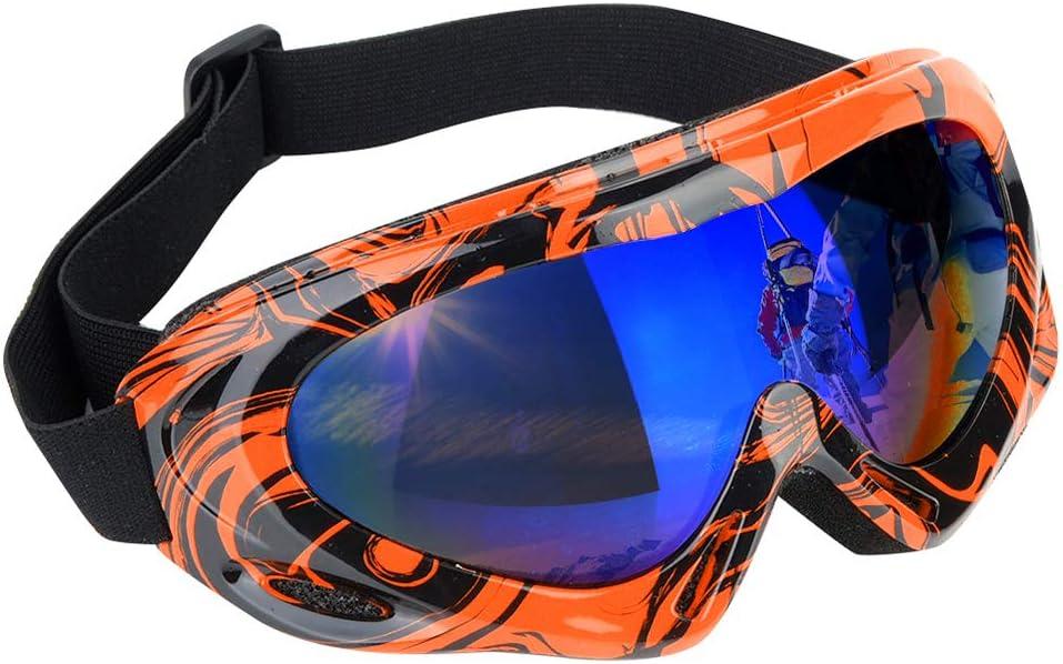 Rehomy Gafas de esquí Gafas de Snowboard Deportivas de protección UV de Lente única Ajustable para niños niñas jóvenes Hombres Mujeres
