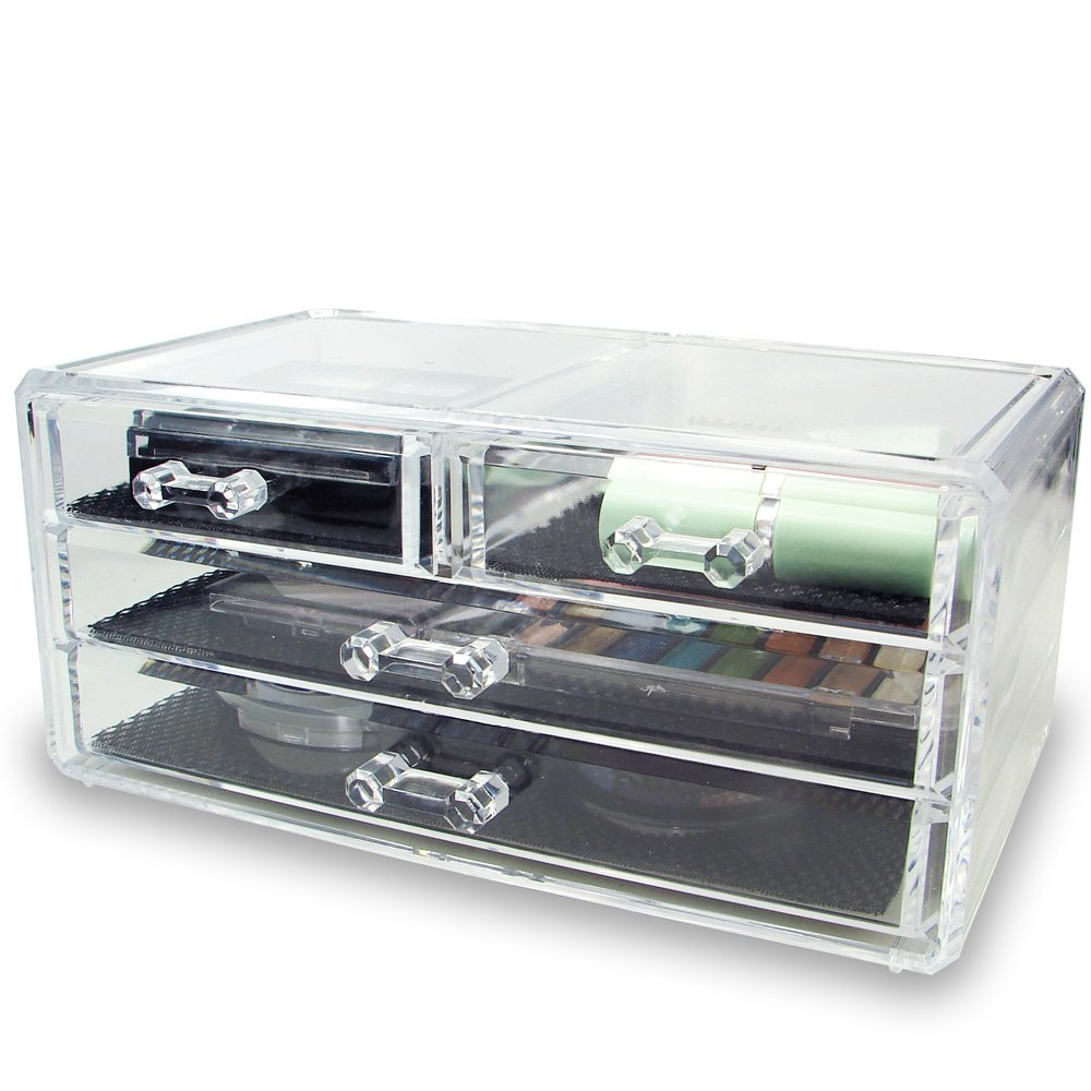 Ikee Design Acrylic Jewelry & Cosmetic Storage Display Box 9 3/8'' x 5 3/8'' x 4 3/8'' H