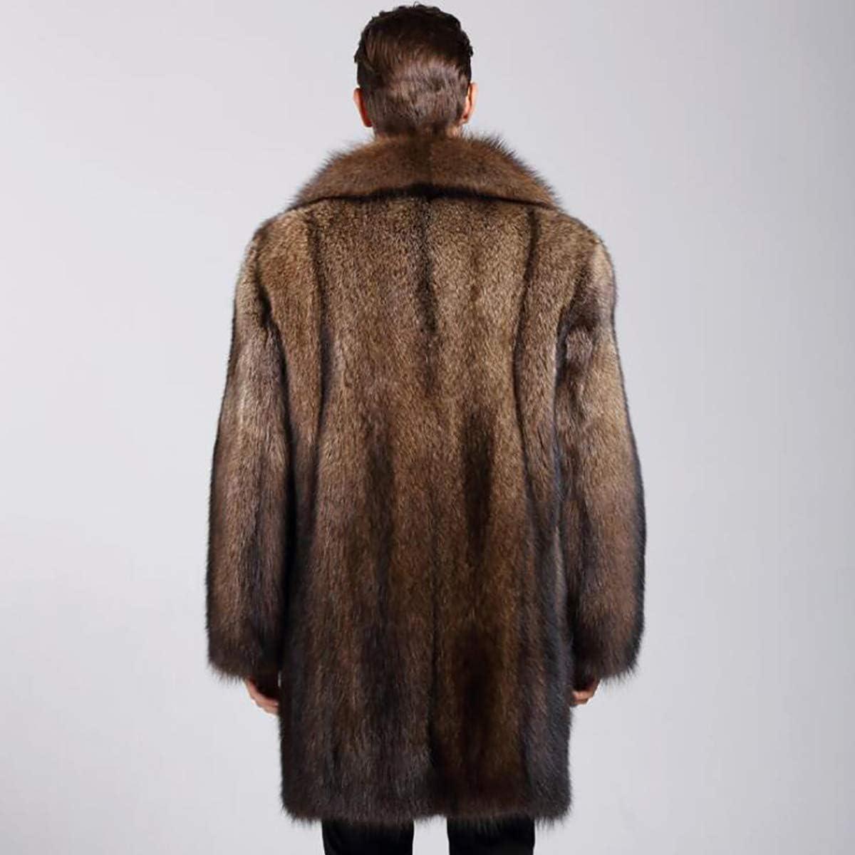 L@LILI Manteau de Fourrure d'hiver pour Homme À Manches