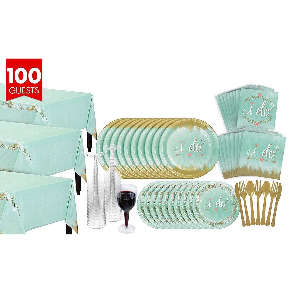 ELEGANI Mint To Be Bridal Shower Tableware Kit for 100 Guests Wedding Theme