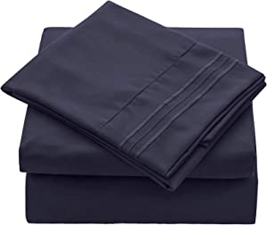 VEEYOO Queen Size Sheet Set - Super Soft 1800 Thread Count Premium Bed Sheet Sets - 16-Inch Deep Pockets, Hypoallergenic Brushed Microfiber, Wrinkle & Fade Resistant Sheet - 4 Pieces, Navy Blue