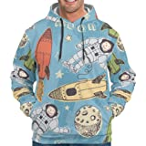 Rockets and Astronauts Novelty Casual Front Pocket Hoodie with Pocket Friends Moon