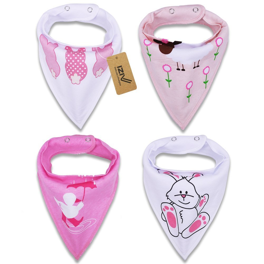 iZiv 4 PACK Baby Bandana Drool Bibs with Adjustable Snaps, Absorbent Soft Cotton Lining 0-2 Years (Color-5) Dlife TZN21
