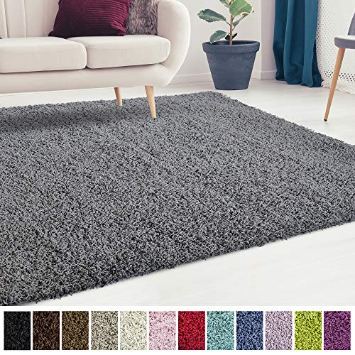 (iCustomRug Cozy and Soft Solid Shag Rug 10X10 Charcoal/Dark Grey Square Area Rug Ideal to Enhance Your Living Room and Bedroom)