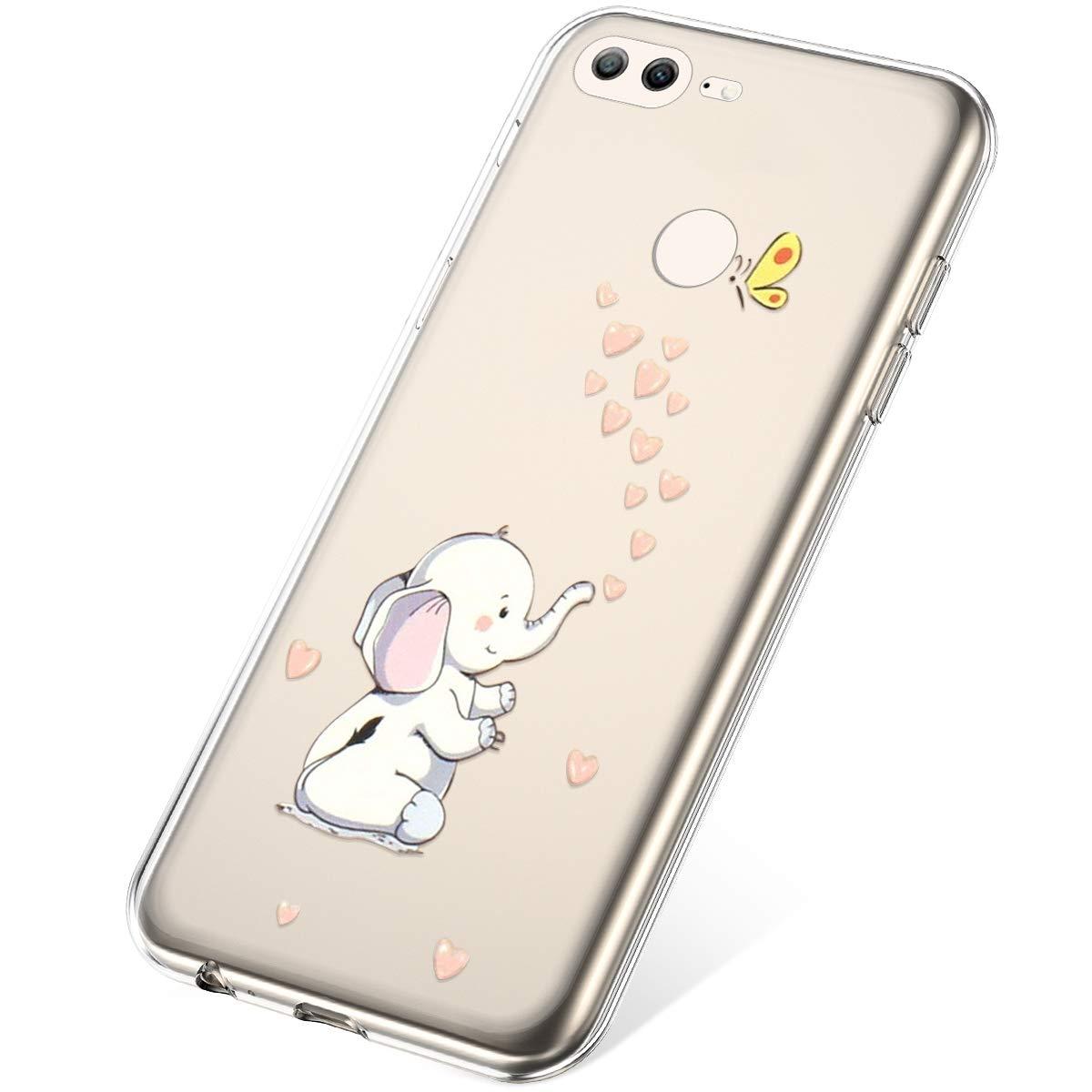 Etui Compatible avec Huawei Honor 9 Lite,Coque Huawei Honor 9 Lite Transparente Silicone Housse de Protection Ultra Mince en Caoutchouc Souple Coquille Anti Choc T/él/éphone Bumper Case,Marguerite