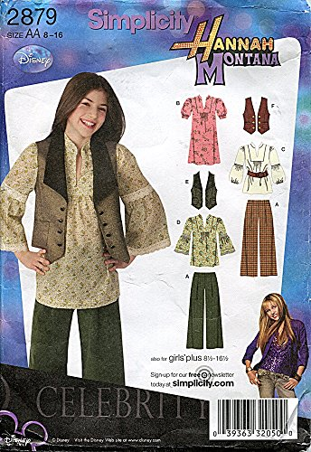 (Simplicity Pattern 2879 Hannah Montana Girls' Pants, Dress or Top and Vest, Size AA (8-16) )