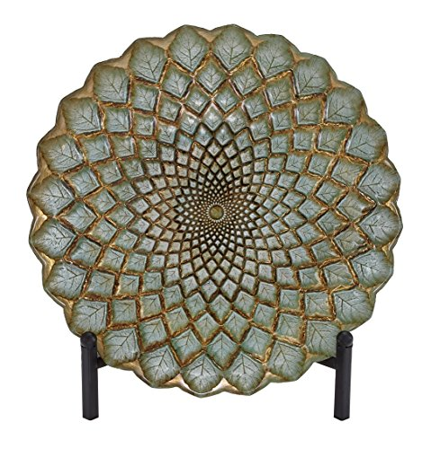 Metal Mosaic Plates (Deco 79 Glass Bowl Metal Stand, 16-Inch, Sage Green)