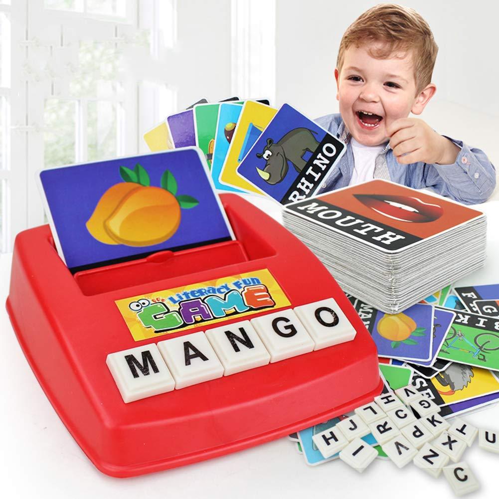 Fernando Leo Máquina de Escribir en inglés para niños Máquina de Escribir Juego de Escritorio Juguetes de educación temprana con 52 Bloques de Letras: ...