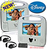 """Disney 7""""inch Dual Screen Widescreen LCD Mobile DVD Player DC7500PDD with Remote Control, Car Accessories and 2 Set Headphones. Plays DVDs, Audio CDs, and More"""