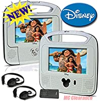 Disney 7inch Dual Screen Widescreen LCD Mobile DVD Player DC7500PDD with Remote Control, Car Accessories and 2 Set Headphones. Plays DVDs, Audio CDs, and More