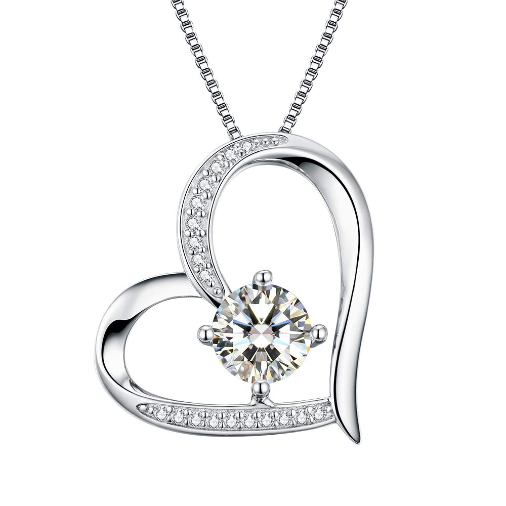 4336ed23dbe Amazon.com  Heart Necklace 5A Cubic Zirconia Love Necklace 14k White Gold  Plated Pendant Necklaces for Women  Jewelry