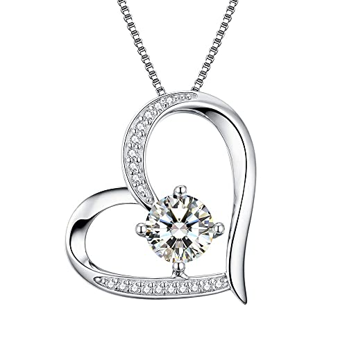 6c64e2d94c8b0 Amazon.com  Heart Necklace 5A Cubic Zirconia Love Necklace 14k White Gold  Plated Pendant Necklaces for Women  Jewelry