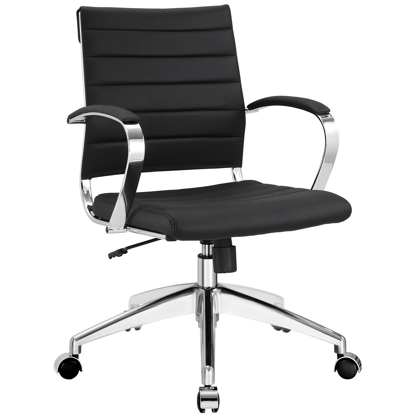 Modway Jive Ribbed Mid Back Executive Office Chair With Arms In Black