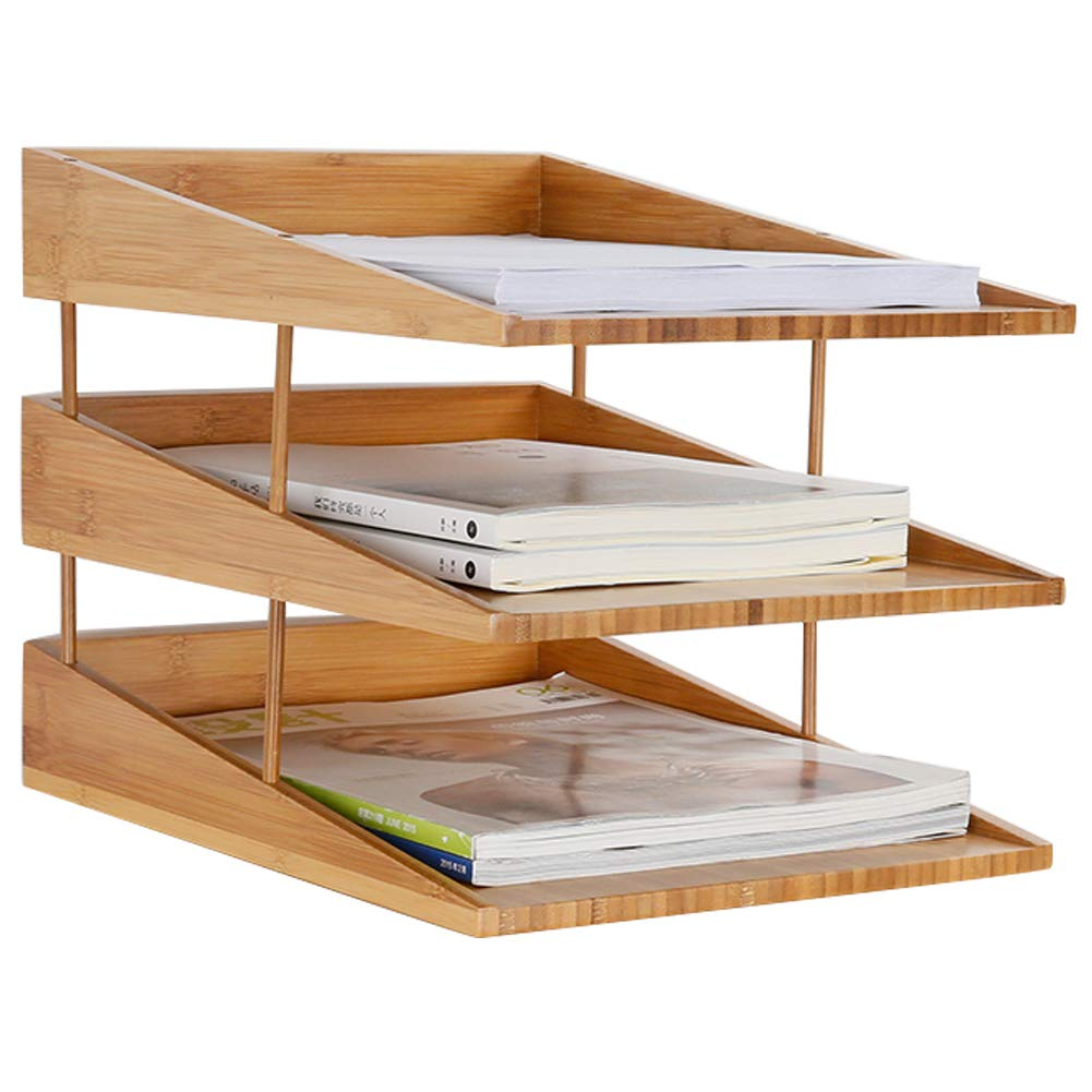 Echaprey Bamboo Desk File Tray/Document Tray Holder/File Folder Rack,Perfect for Sorting or Stacking Letter Documents for Office