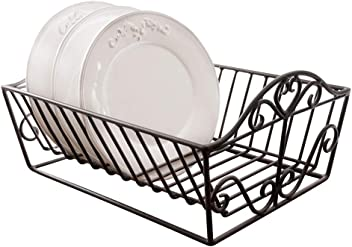 Wrought Iron Heart Plate Dish Drainer Rack 37 x 29 x 19cm by Dibor - French