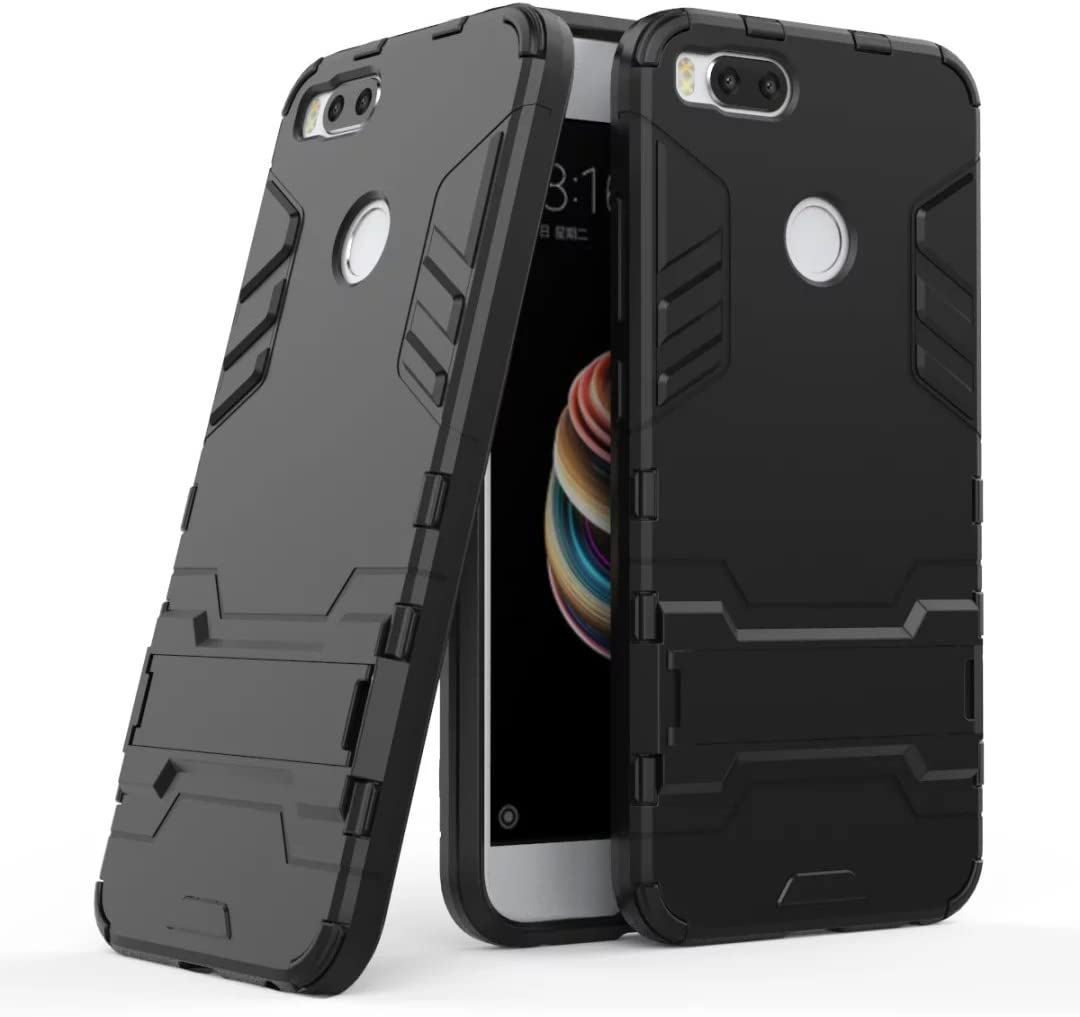 GOGME Funda para Xiaomi Mi 5X, Soporte Plegable Case, Negro