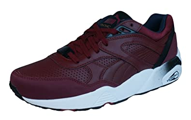 Puma R698 Leather Trinomic Mens Sneakers / Shoes-Burgundy-7.5
