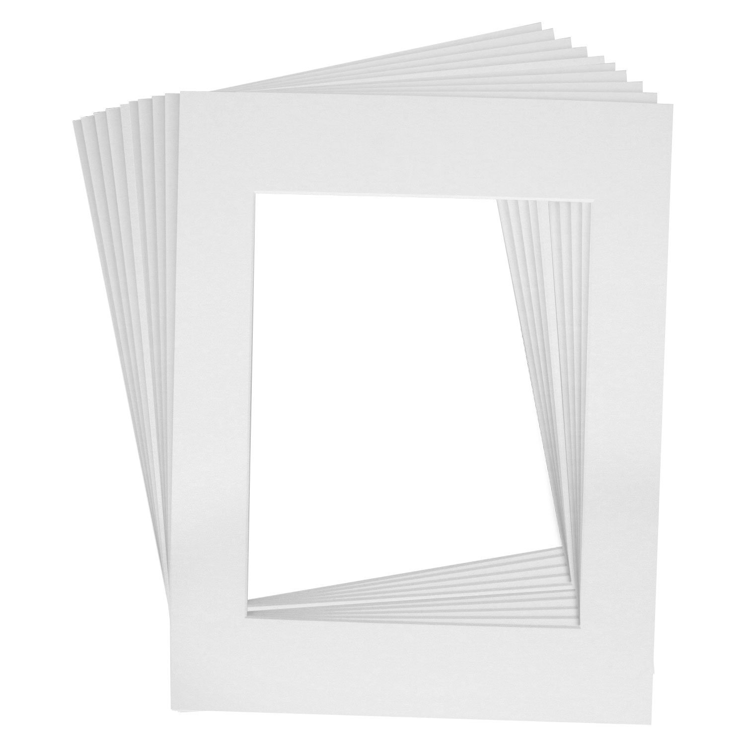Mat Board Center, Acid-Free Pre-Cut 16x20 White Picture Mat Set. Includes a Pack of 10 White Core Bevel Cut Mattes for 11x14 Photos, Backers & Clear Bags