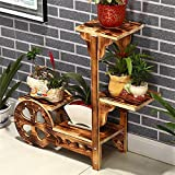 Wooden flower rack / simple solid wood balcony living room shelves / multi-layer ladder floor bonsai frame / decorative frame ( Color : B )