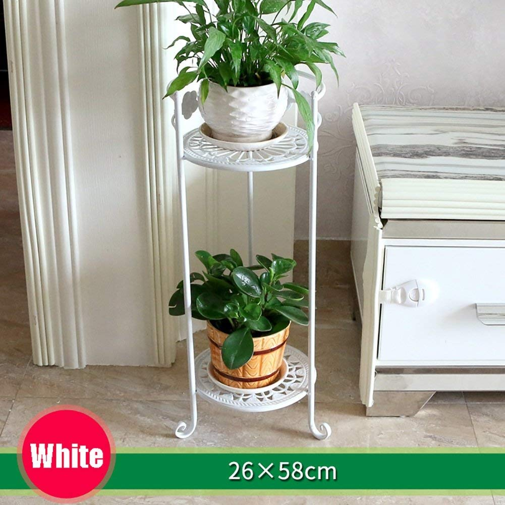 Black 26×78cm Gifts & Decor Plant Stand Shelf Outdoor Indoor Display Plant Stand Wrought Iron Flower Shelf Multi-Layer Floor Balcony Indoor Living Room Space to Spend (color   Black, Size   26×58cm)