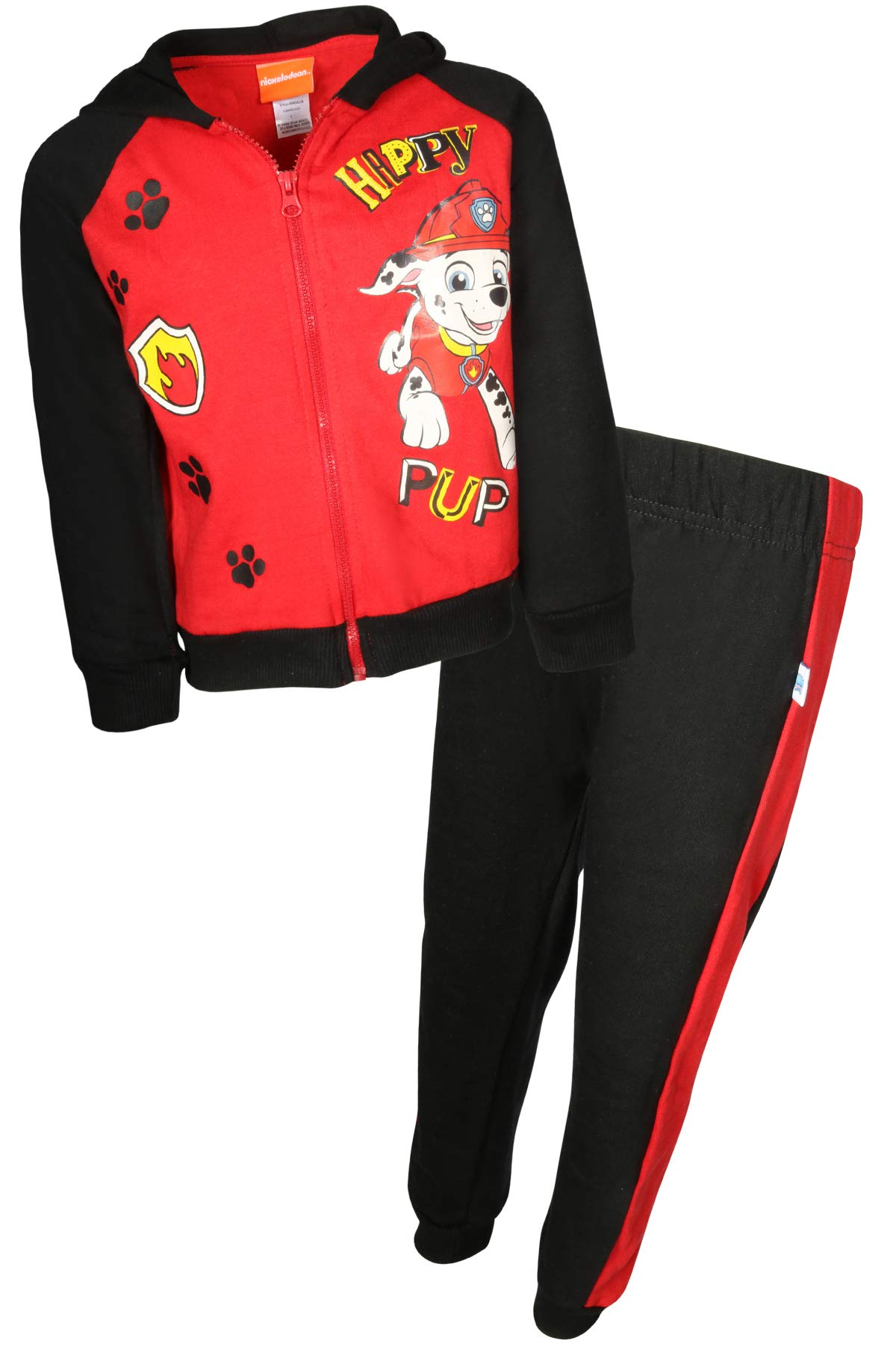Nickelodeon Paw Patrol Boys 2-Piece Fleece Zip-up Hoodie Jogger Set, Black Red Marshall, Size 4T'