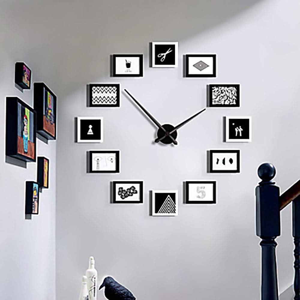 ETH Forma De Madera Moderna del Marco De La Foto Ronda Reloj De Pared Interior/Reloj Durable: Amazon.es: Hogar