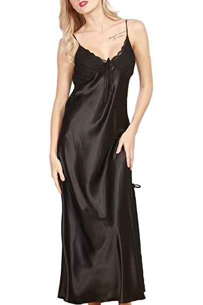 Women s Satin Nightgown Long Slip Sleeveless Sleepwear Night Dress Sexy  Night Wear For Women (Black 814af8a2c