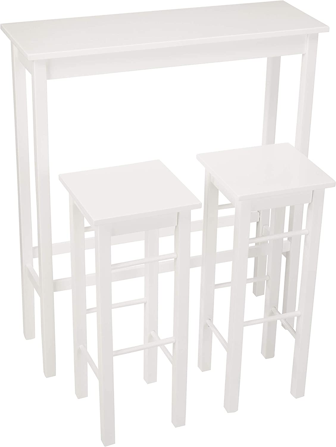 AmazonBasics Breakfast Bar Bistro Table - 3-Piece Set,White