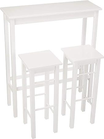 Juego de muebles de desayuno con dos taburetes y una mesa auxiliar rectangular,Se necesita montaje.