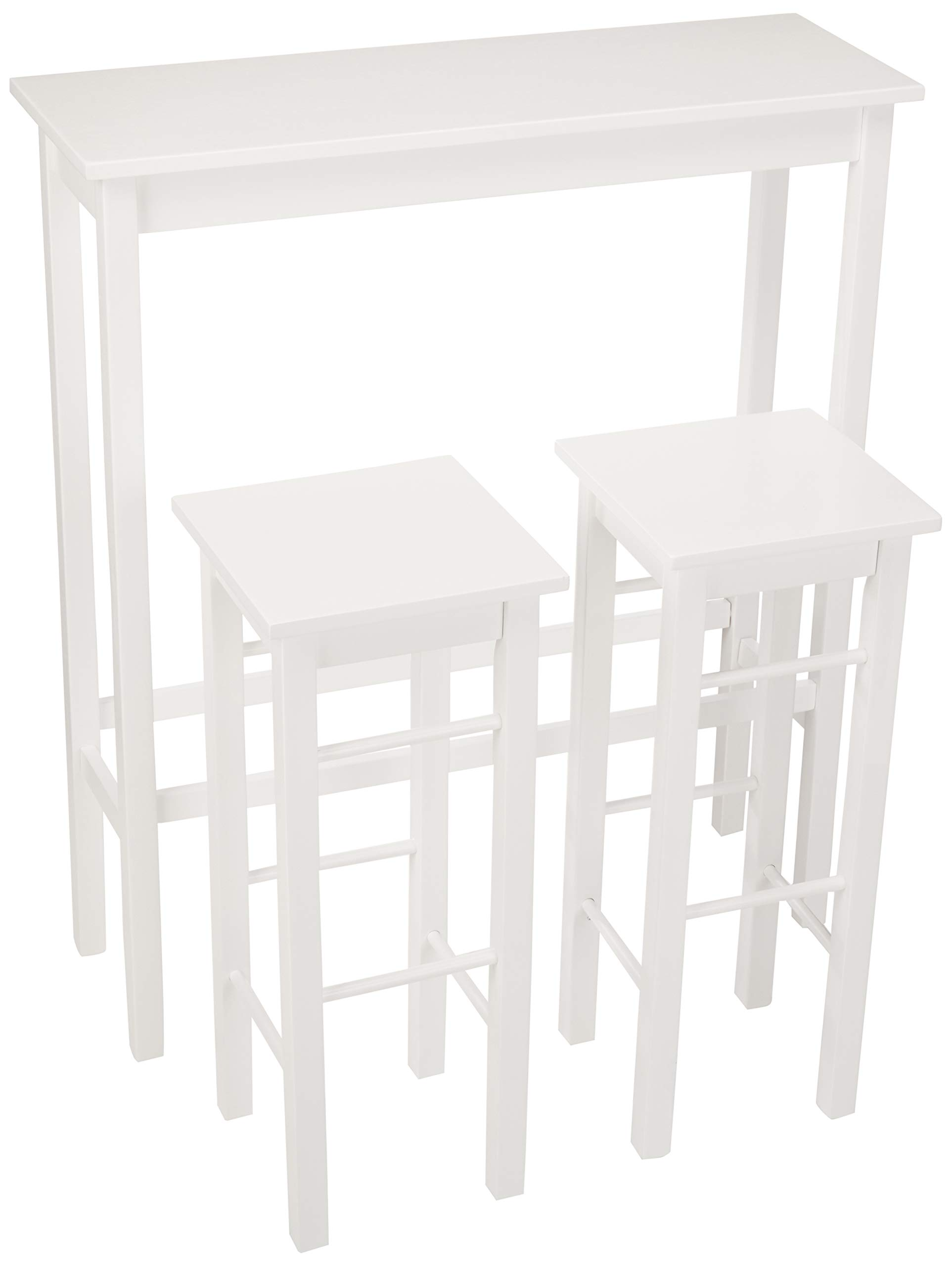 AmazonBasics Breakfast Bar Bistro Table - 3-Piece Set,  White by AmazonBasics