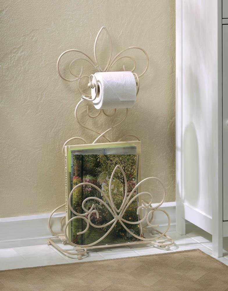 Scrolled Fleur de Lis Iron Ivory Bathroom Rack French Style Vacation Home Decor
