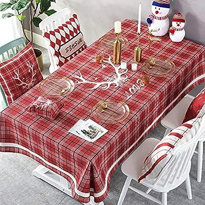 MJ-Brand Mantel de Navidad - Rectángulo de Lino de algodón Rojo Mantel de Navidad para la Cena de Navidad 140x180cm: Amazon.es: Hogar