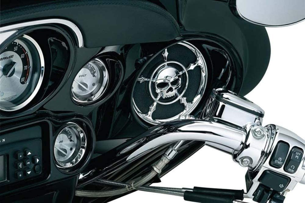 Motorrad Chrom Neu 2 x Chrom 5 1//2 Zoll Sch/ädel Lautsprecher Verkleidung Gitter Abdeckung f/ür Harley Touring FLH 2014-2017