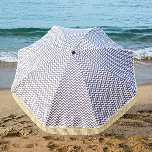 Beach Brella 5 Ft. Designer Chic Fiberglass Beach Umbrella with Telescopic Pole & Fringes - Regatta