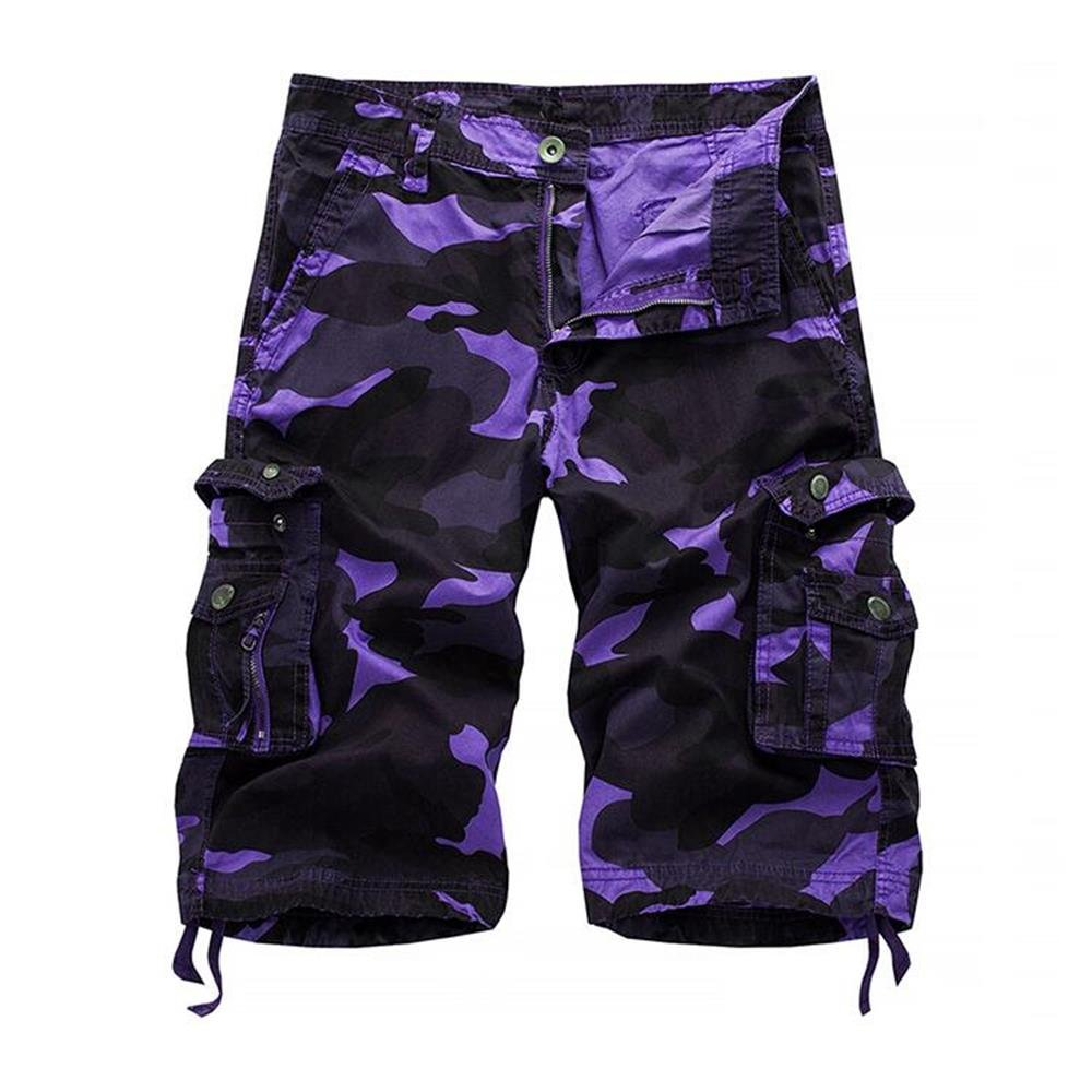 HAKJAY Comouflage Cargo Shorts for Men 3 4 Short (32, Purple)
